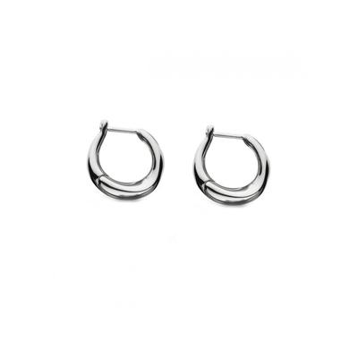 Kit Heath Sterling Silver Bevel Curve Hinged Hoops