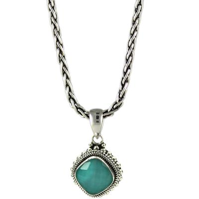 Indiri Sterling Silver, Crystal Quartz & Turquoise Doublet Necklace