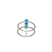 Sterling Silver & Blue Opal Three Stone Cage Ring