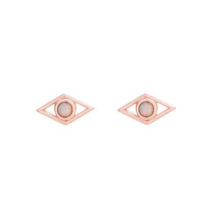Rose Gold & White Opal Diamond Shaped Studs