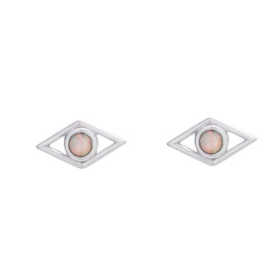 Sterling Silver & White Opal Diamond Shaped Studs
