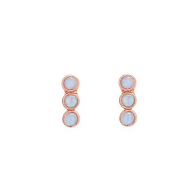 Rose Gold & White Opal Three Stone Studs