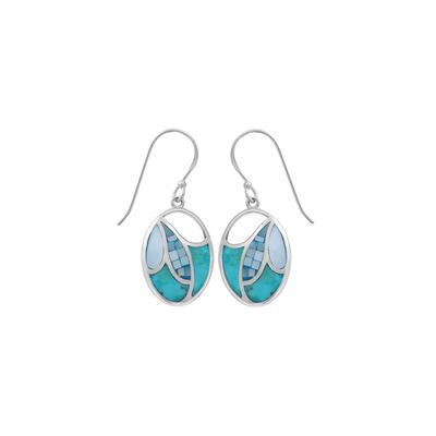 Boma Blue Turquoise & Shell Mosaic Earrings
