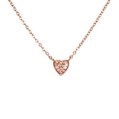 Rose Gold & Cz Tiny Heart Necklace
