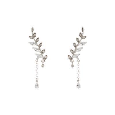 Sterling Silver & Cz Leaf Earrings
