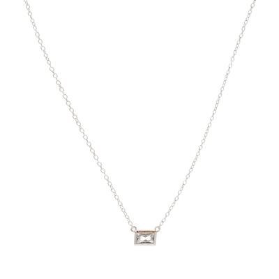 Sterling Silver & Cz Rectangle Necklace