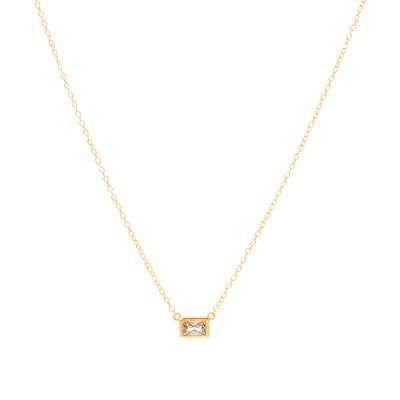 Gold & Cz Rectangle Necklace