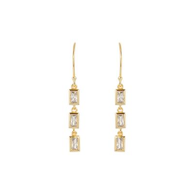 Gold & Cz Rectangle Trio Earrings