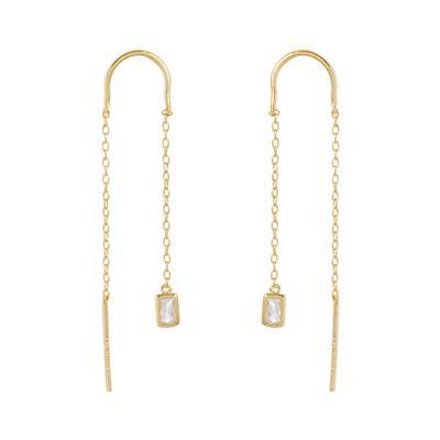 Gold & Cz Rectangle Threader Earrings