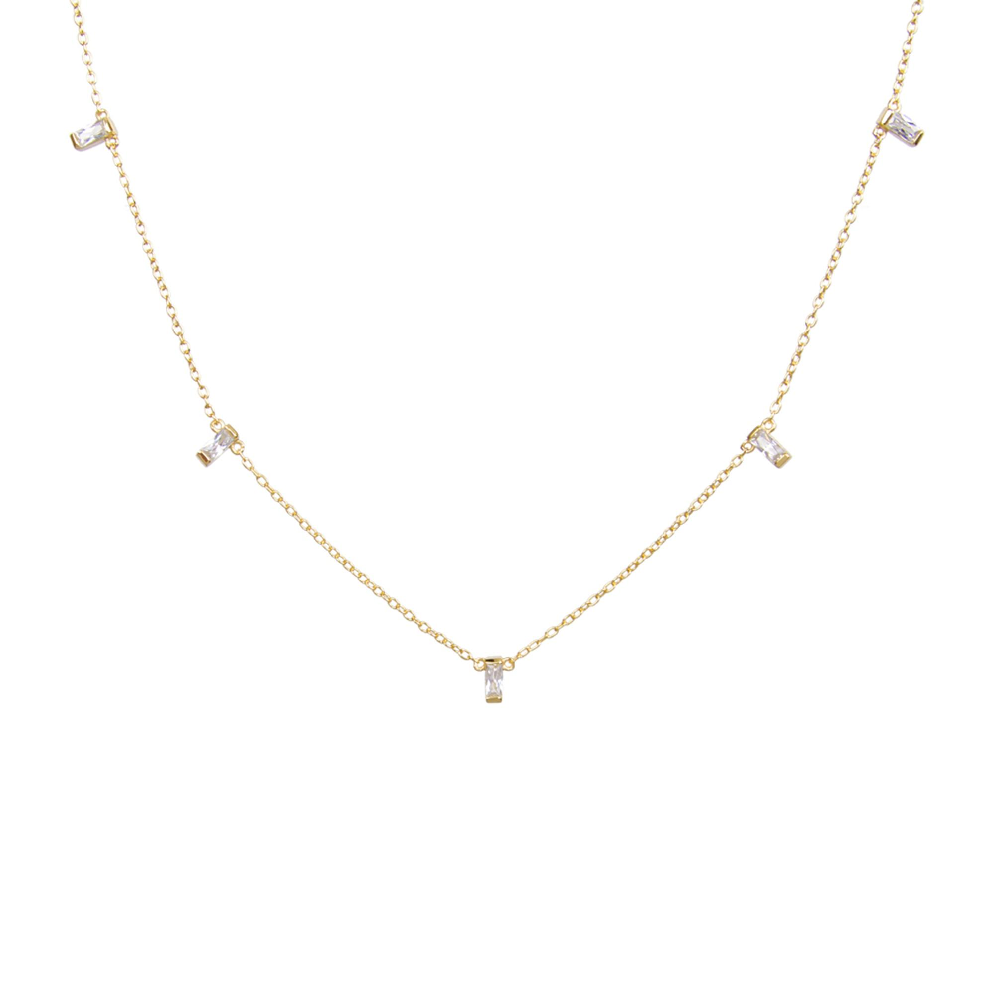 Gold & Cz Rectangle Choker