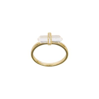 Gold & Cz Glass Prism Ring