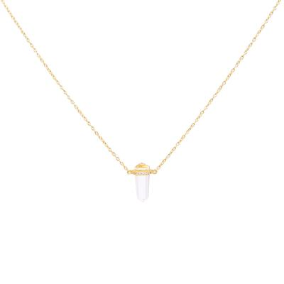 Gold & Cz Glass Prism Necklace