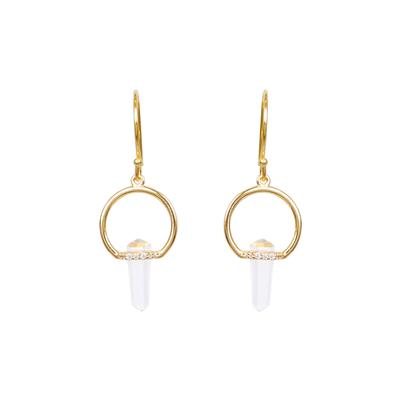 Gold & Cz Glass Prism Earrings