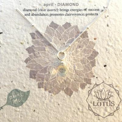 Sterling Silver April Birthstone Trinket Necklace