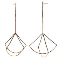 By Boe Sterling Silver & Gold Filled Double Scale Earrings