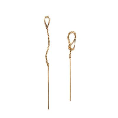 By Boe Gold Filled Leaf & Pin Threader Earrings