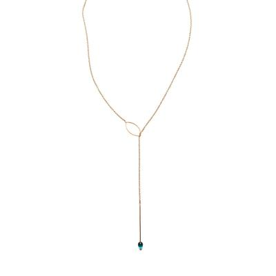 By Boe Blue Glass & Gold Filled Lariat Necklace