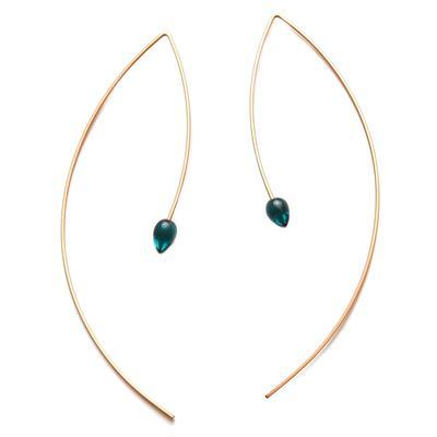 By Boe Blue Glass & Gold Filled Threader Earrings