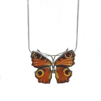 Sterling Silver & Cognac Amber Large Butterfly Necklace