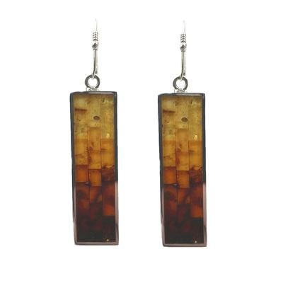 Sterling Silver & Mosaic Amber Rectangle Earrings