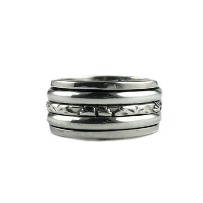 Sterling Silver Butterfly Detail Spinner Ring