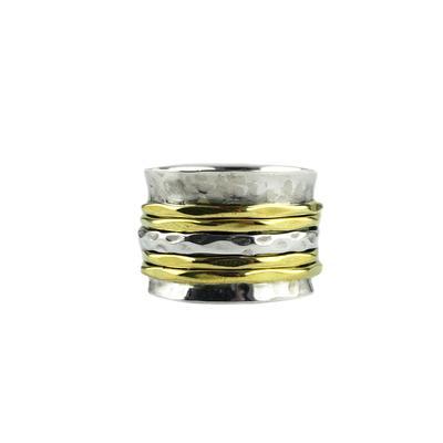 Sterling Silver & Brass Hammered Spinner Ring