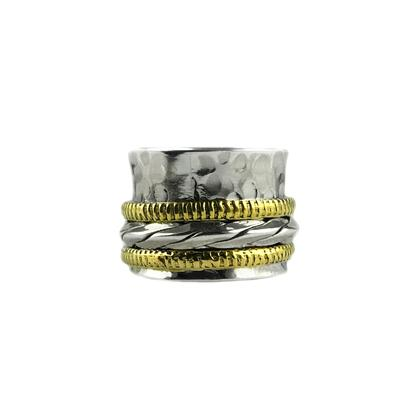 Sterling Silver & Brass Twist Detail Spinner Ring