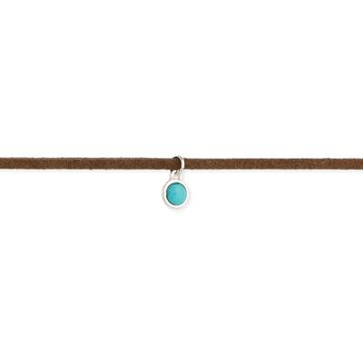 Brown Suede & Turquoise Resin Choker