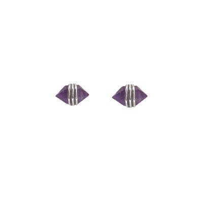 Mimi & Marge Sterling Silver Amethyst Wrap Studs