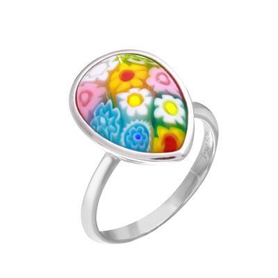 Teardrop Millefiori Murano Glass Ring