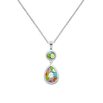 Millefiori Murano Glass Drop Necklace