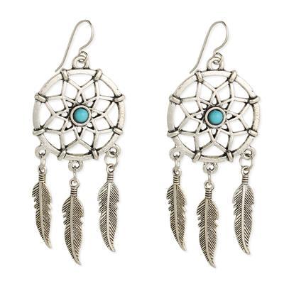 Silver Metal & Turquoise Bead Dream Catcher Earrings