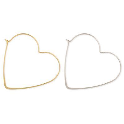 Brushed Metal Heart Hoops