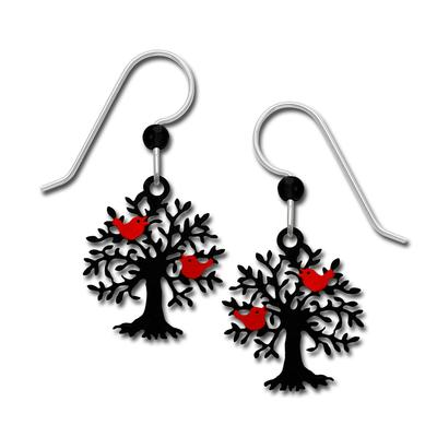 Sienna Sky Tree Silhouette With Bird Earrings