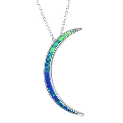 Sterling Silver & Blue Opal Crescent Moon Necklace