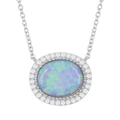 Sterling Silver, Light Blue Opal, & Cz Necklace