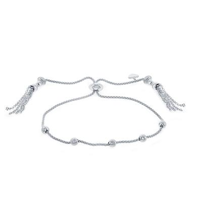 Adjustable Sterling Silver Bead Bracelet With Tassels