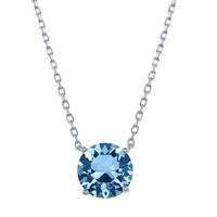 Sterling Silver & Swarovski Crystal March Birthstone Necklace