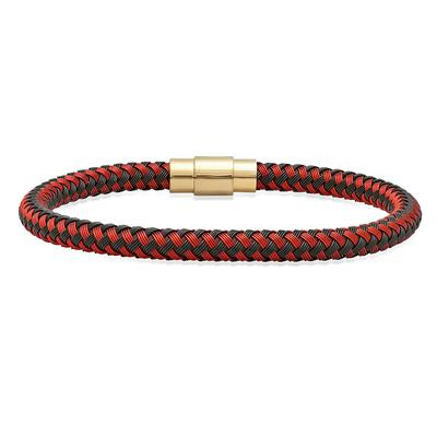 Men's Red & Black Braided Wire Bracelet