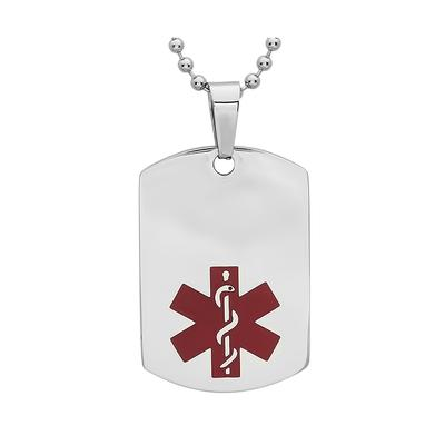 Men's Stainless Steel Medical Id Dog Tag Necklace