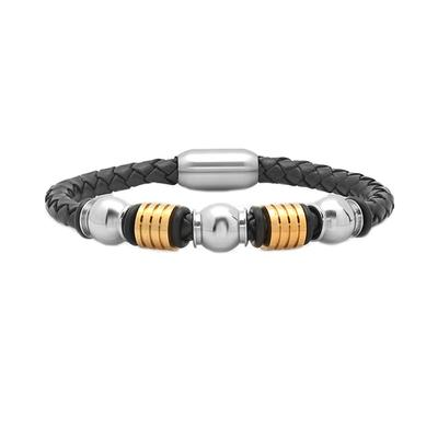 Men's Leather Bracelet With Two- Tone Stainless Steel Beads
