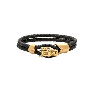 Men's Gold Plated Stainless Steel & Leather Dragon Bracelet