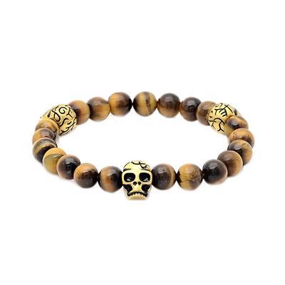 Tiger's Eye & Gold Stainless Steel Skull Bracelet