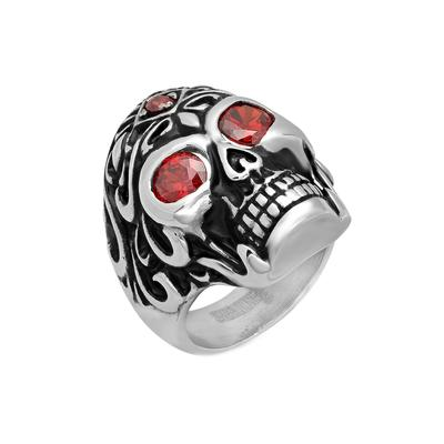 Men's Stainless Steel & Red Cz Skull Ring