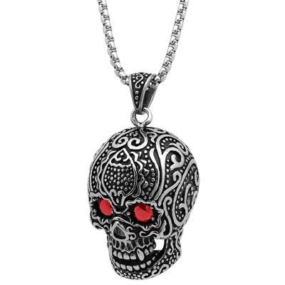 Large Stainless Steel & Red Cz Skull Necklace