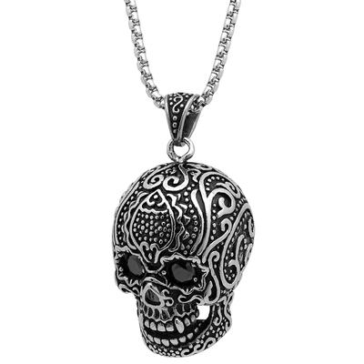 Large Stainless Steel & Black Cz Skull Necklace