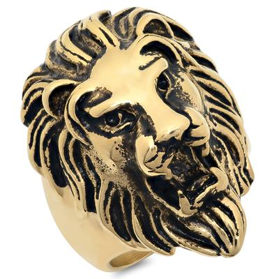 Gold Plated Stainless Steel Lion's Head Ring