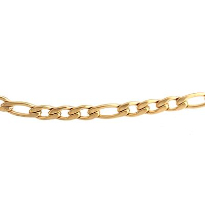 Gold Plated Stainless Steel Figaro Chain Bracelet
