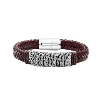 Men's Stainless Steel Chain & Braided Leather Bracelet
