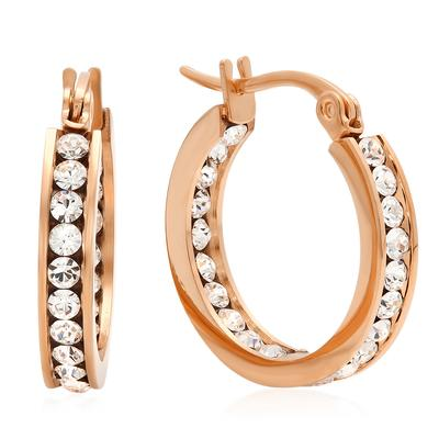 Small Rose Gold Plated Stainless Steel & Cz Hoops